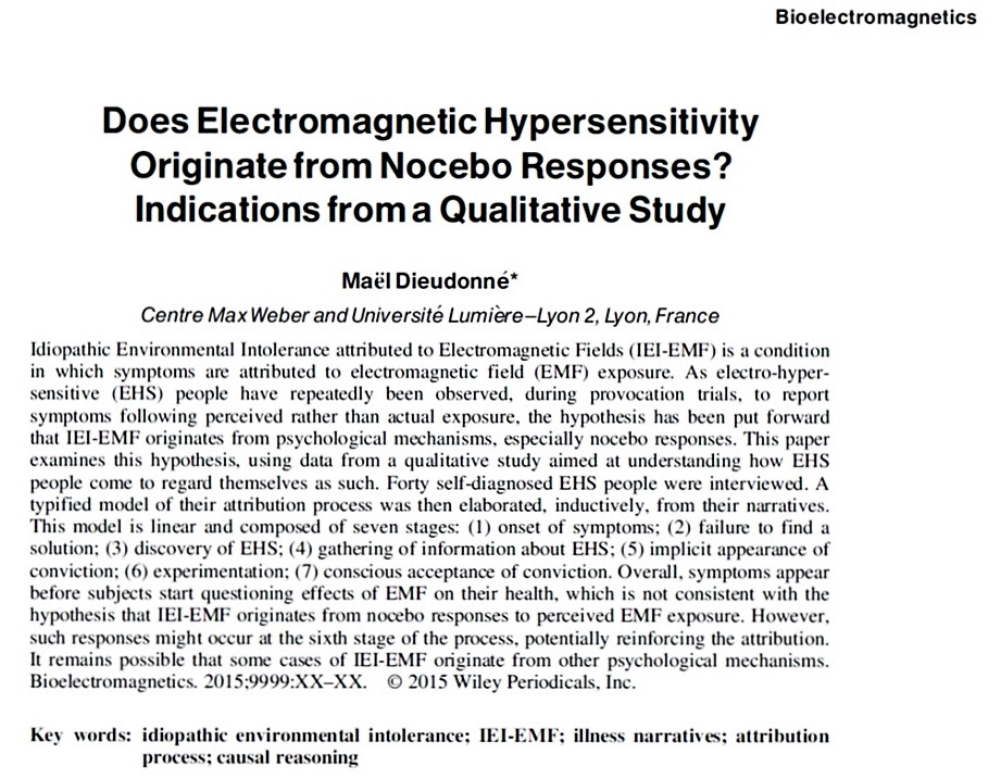 "Electromagnetic Hyper-Sensitivity and Nocebo: What was first – ""the ..."
