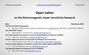 Open Letter on the Electromagnetic Hyper-Sensitivity